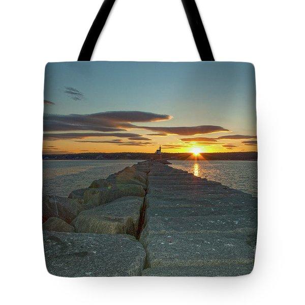 Sunset Seawall Tote Bag