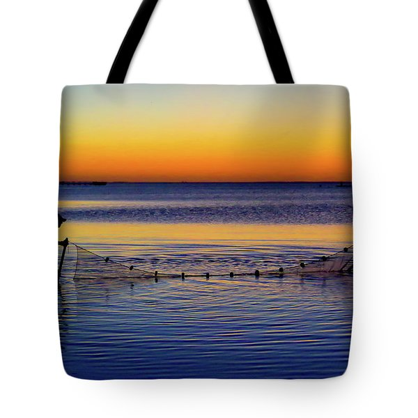 Sunset Seining On Copano Bay Tote Bag