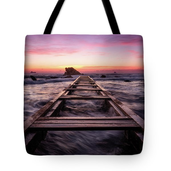 Sunset Shining Over A Wooden Pier In Livorno, Tuscany Tote Bag