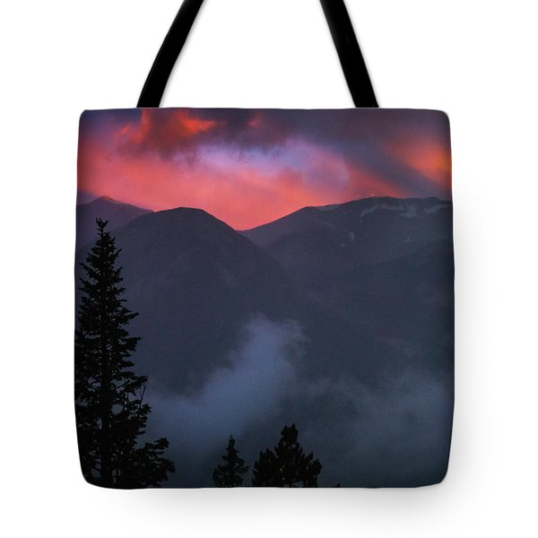 Sunset Storms Over The Rockies Tote Bag