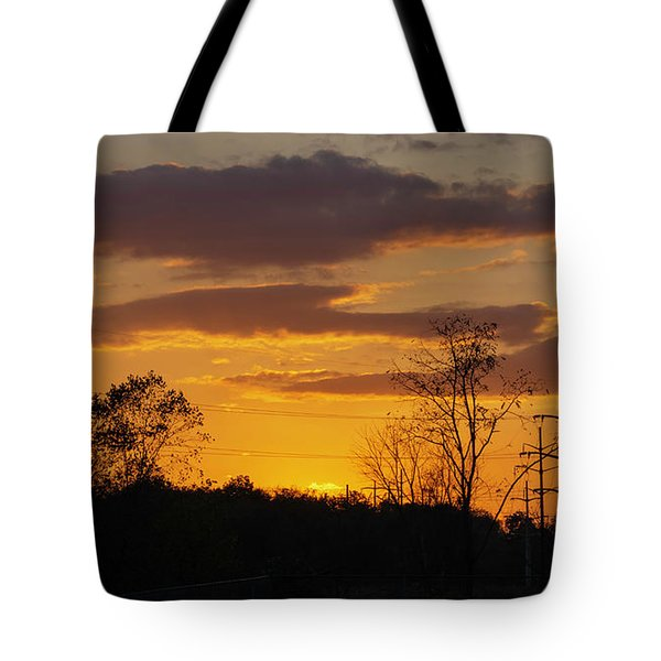 Sunset With Electricity Pylon Tote Bag