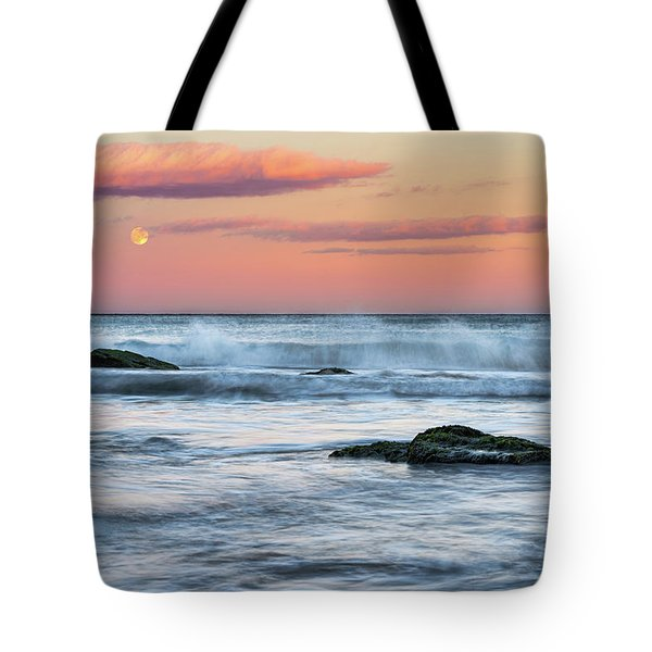 Tote Bag featuring the photograph Super Moon And Sunset At Sozopol Town Beach by Milan Ljubisavljevic