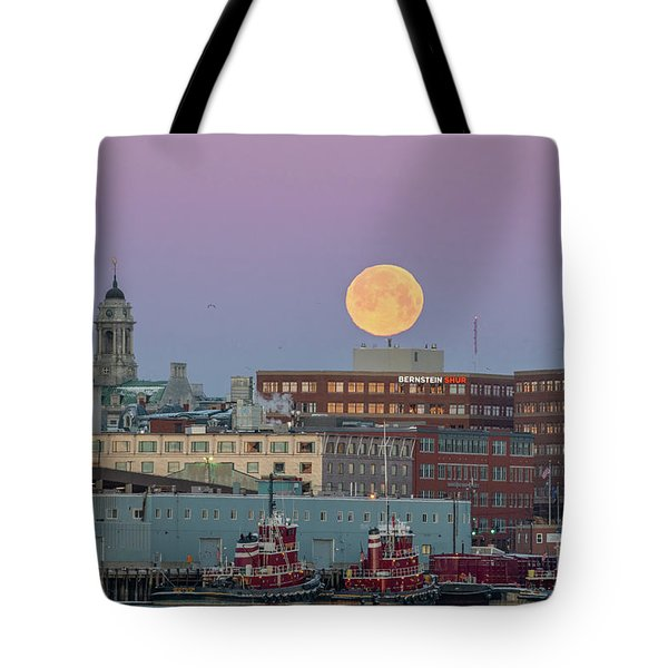 Super Snow Moon Over Portland Tote Bag