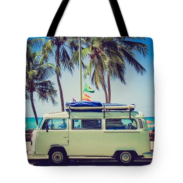 Tote Bag featuring the photograph Surfer Van by Top Wallpapers
