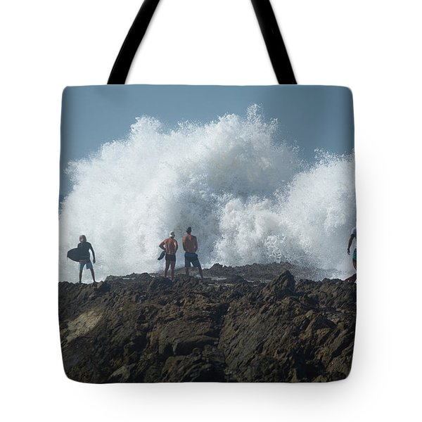 Surfers On The Beach, Coral Sea Tote Bag