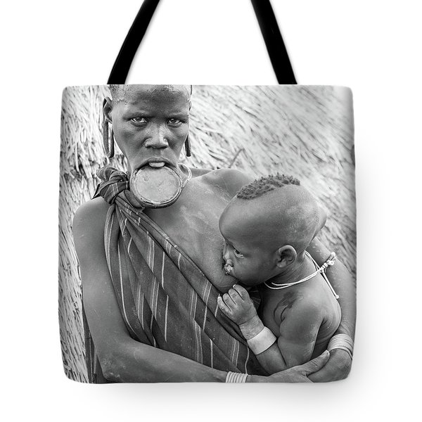 Mursi Mother And Child Tote Bag