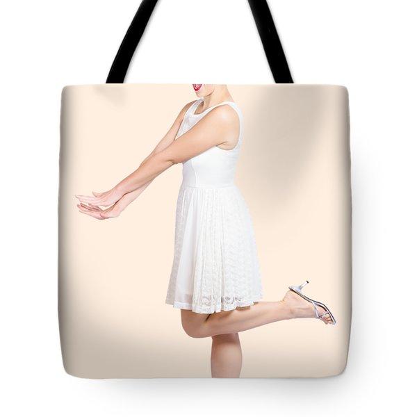 Surprised Housewife Kicking Up Leg In White Dress Tote Bag