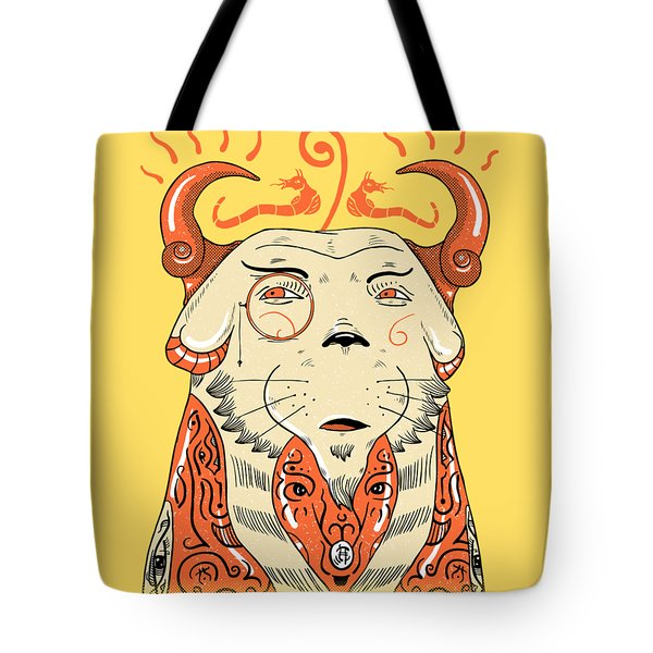 Tote Bag featuring the drawing Surreal Cat by Sotuland Art