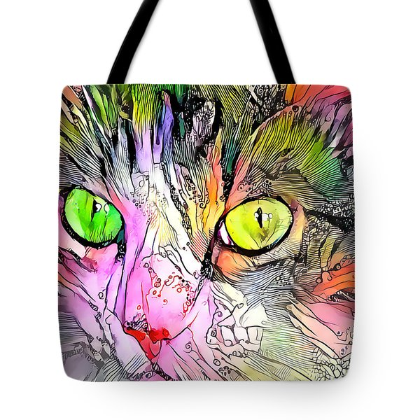 Surreal Cat Wild Eyes Tote Bag