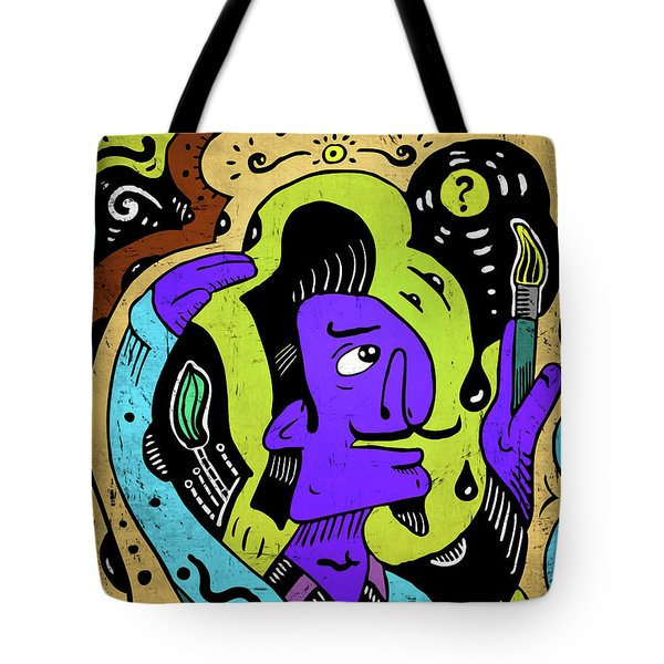 Tote Bag featuring the digital art Surreal Painter by Sotuland Art