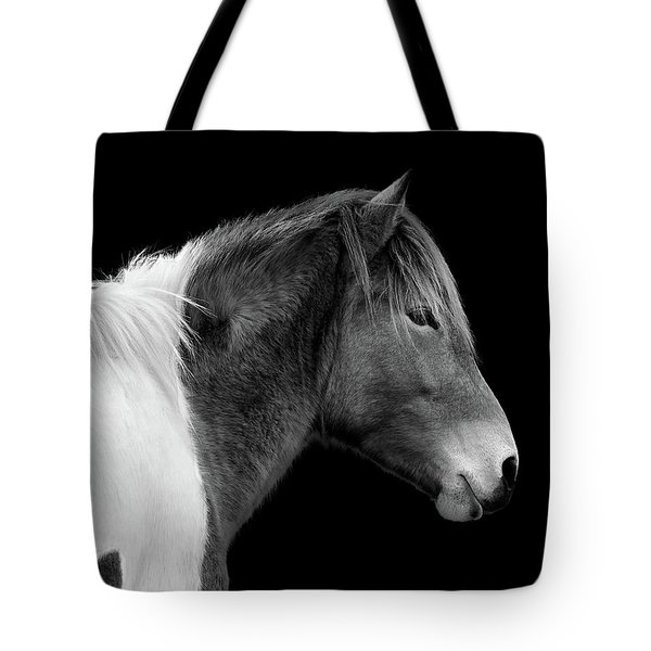 Tote Bag featuring the photograph Susi Sole Portrait In Black And White by Assateague Pony Photography