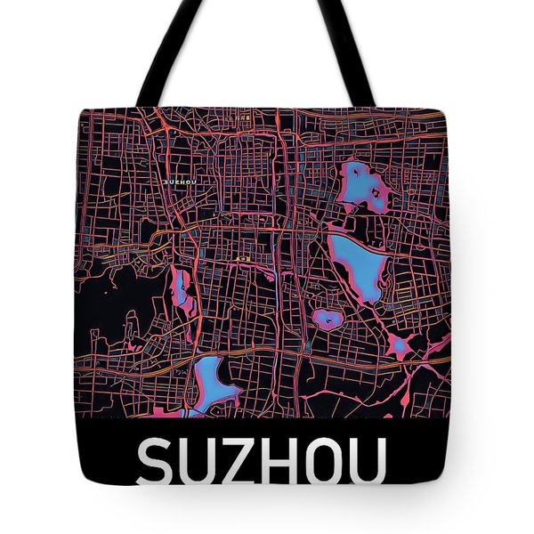 Tote Bag featuring the digital art Suzhou City Map by Helge