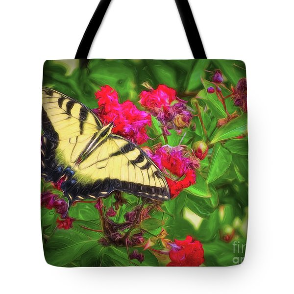 Swallowtail Among Flowers Tote Bag