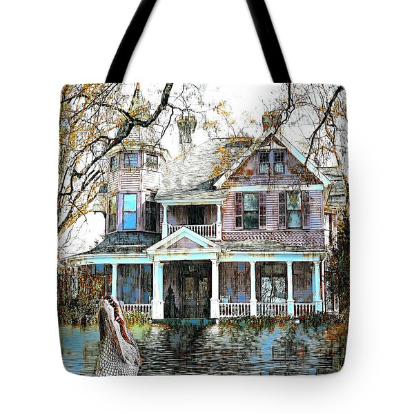 Tote Bag featuring the digital art Swamp House by Pennie McCracken