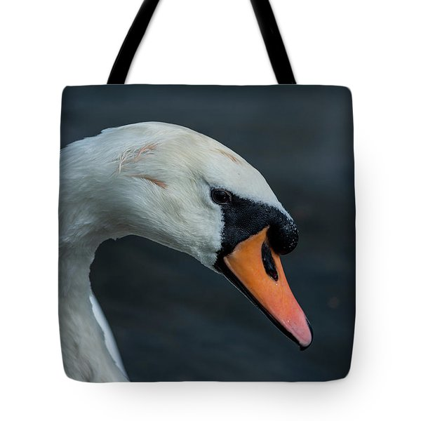 Tote Bag featuring the photograph Swan Head Close Up On Blue Background by Scott Lyons