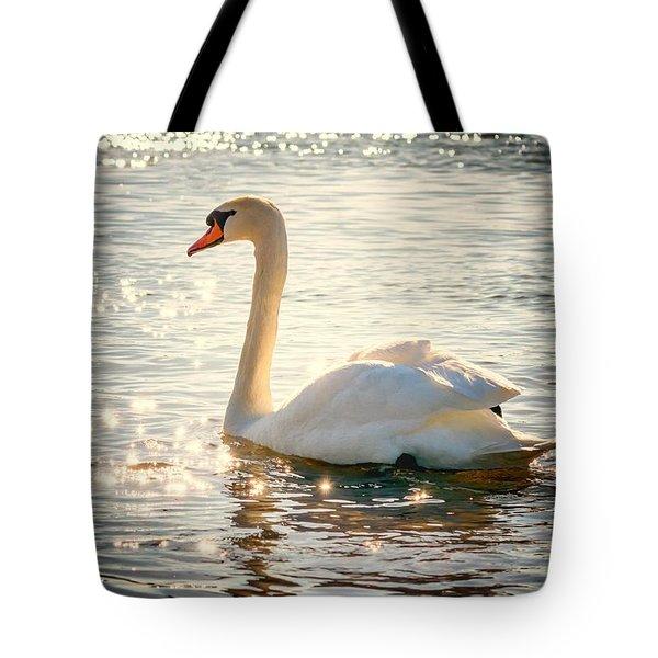 Swan On Golden Waters Tote Bag