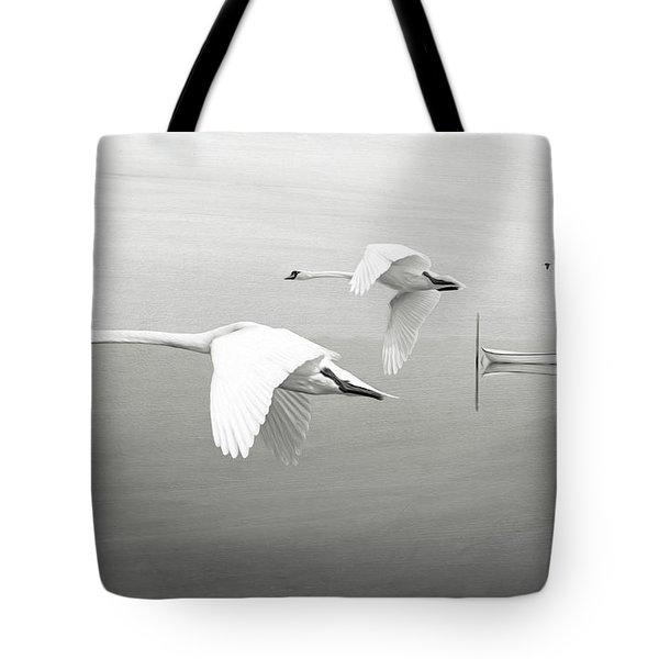 Swans At Sunrise Bw Tote Bag