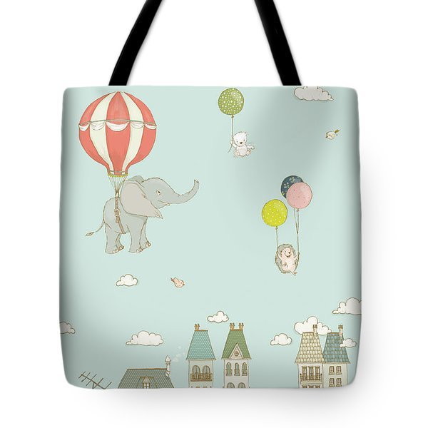 Sweet Animals Having Fun Cute And Whimsical Art For Kids Tote Bag