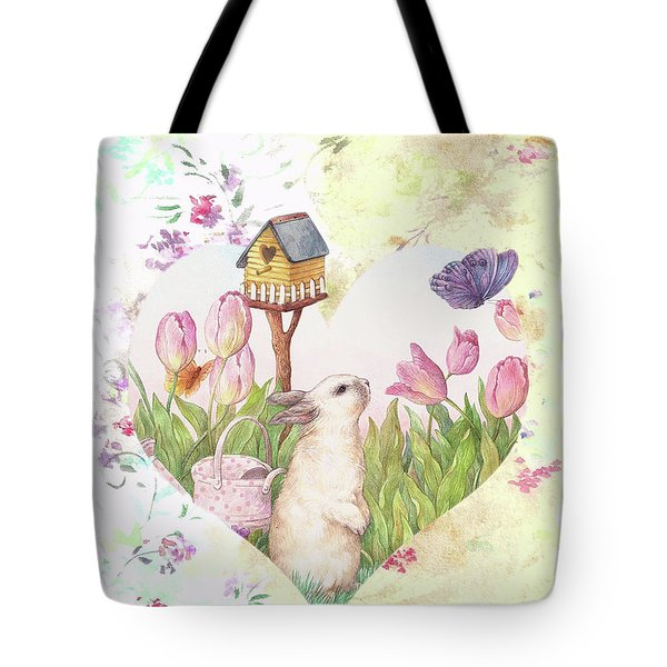 Sweet Heart Bunny And Butterfly Tote Bag