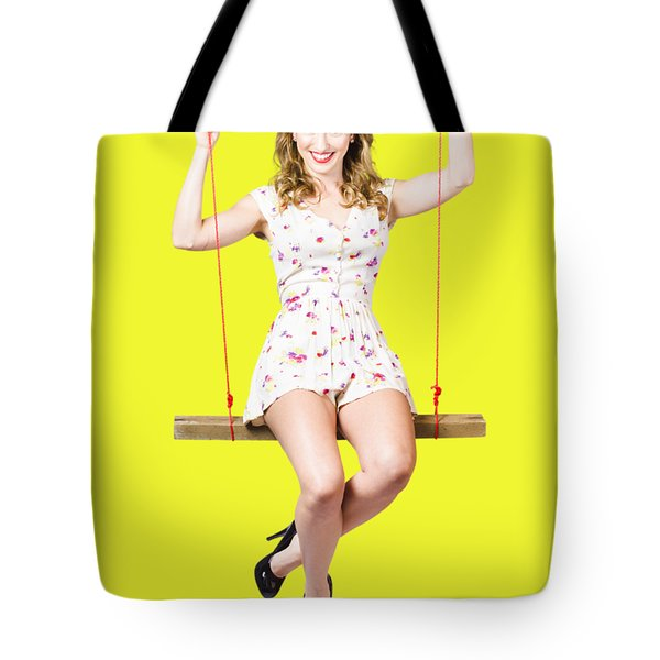 Swing Pinup Girl With Beauty Make-up And Hairstyle Tote Bag