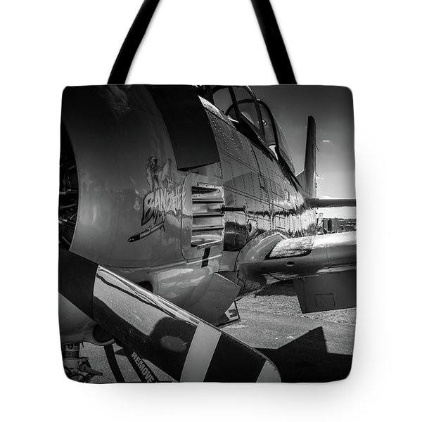 Tote Bag featuring the photograph T-28b Trojan In Bw by Doug Camara