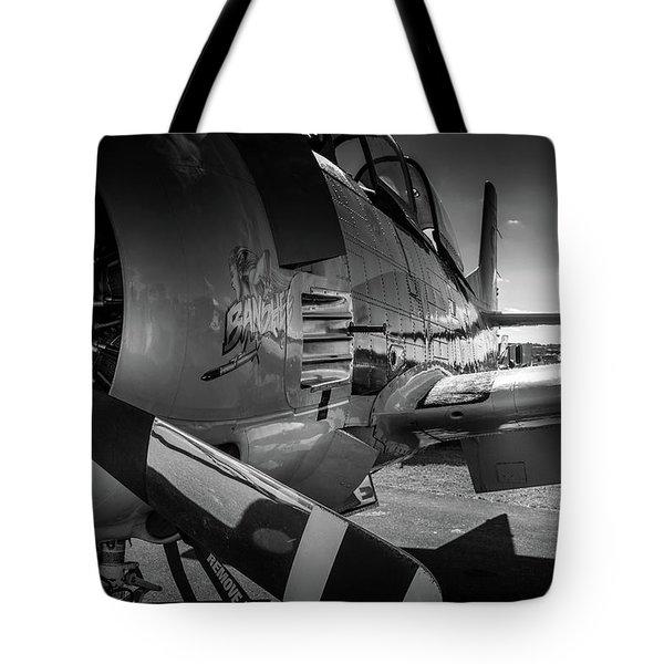 T-28b Trojan In Bw Tote Bag