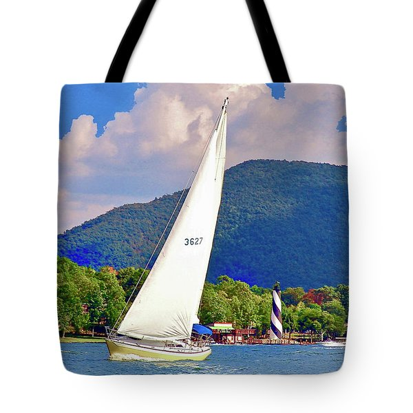 Tacking Lighthouse Sailor, Smith Mountain Lake Tote Bag