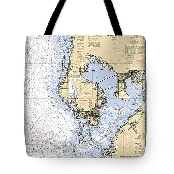 Tampa Bay And St. Joseph Sound Noaa Chart 11412 Tote Bag