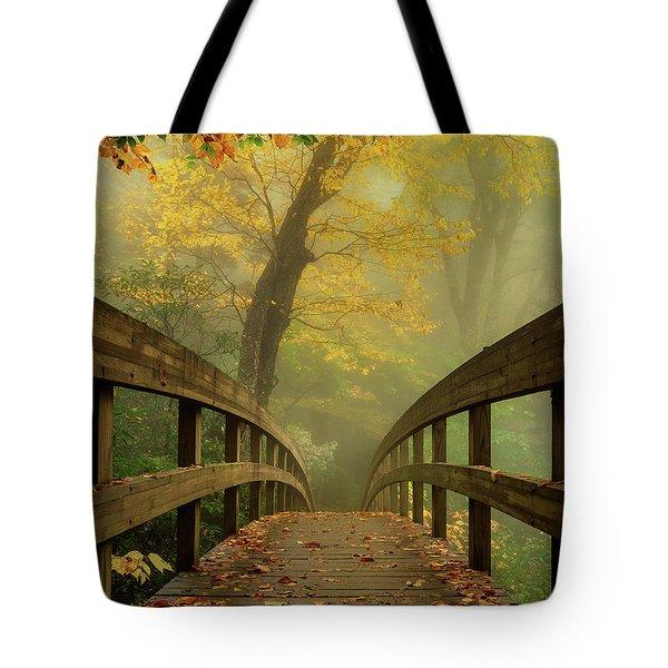 Tanawha Trail Blue Ridge Parkway - Foggy Autumn Tote Bag