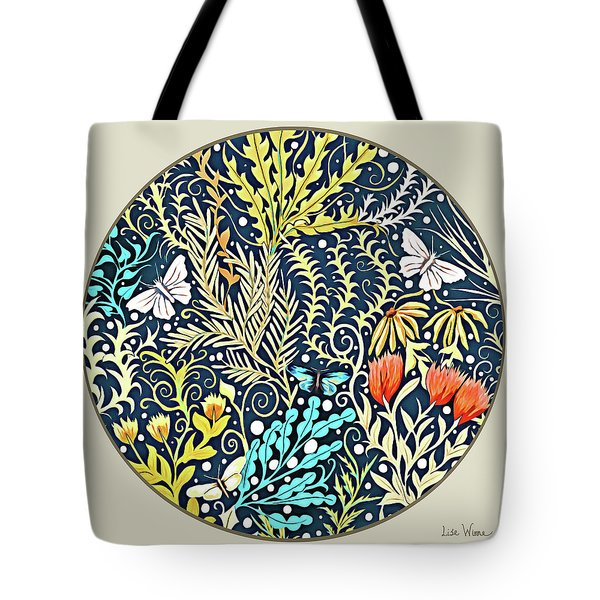 Tapestry Design Button Tote Bag