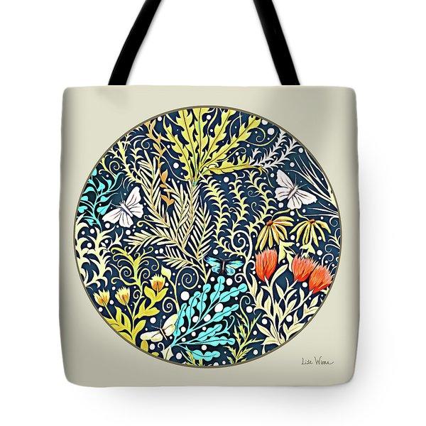 Tapestry Design Button Tote Bag