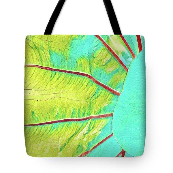 Taro Leaf In Turquoise  Tote Bag