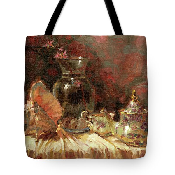 Tote Bag featuring the painting Tea By The Sea by Steve Henderson