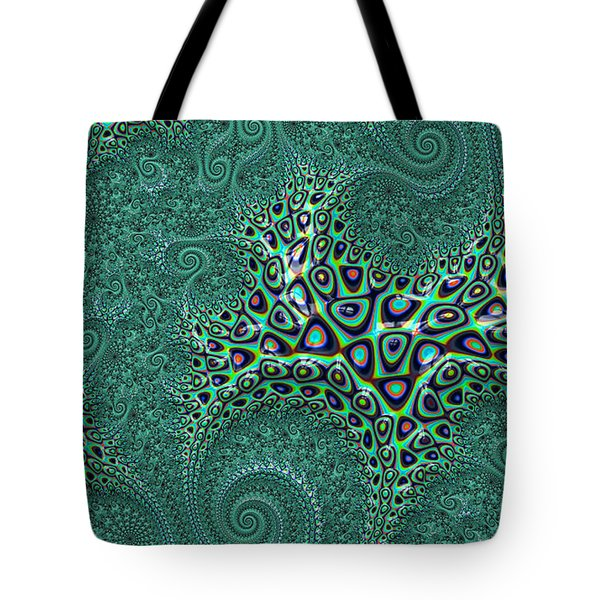 Tote Bag featuring the digital art Teal Octopus Fractal Abstract by Shelli Fitzpatrick