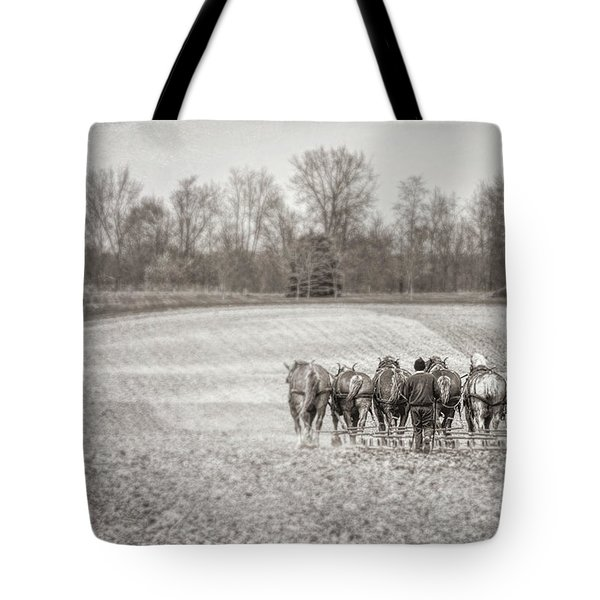 Team Of Six Horses Tilling The Fields Tote Bag