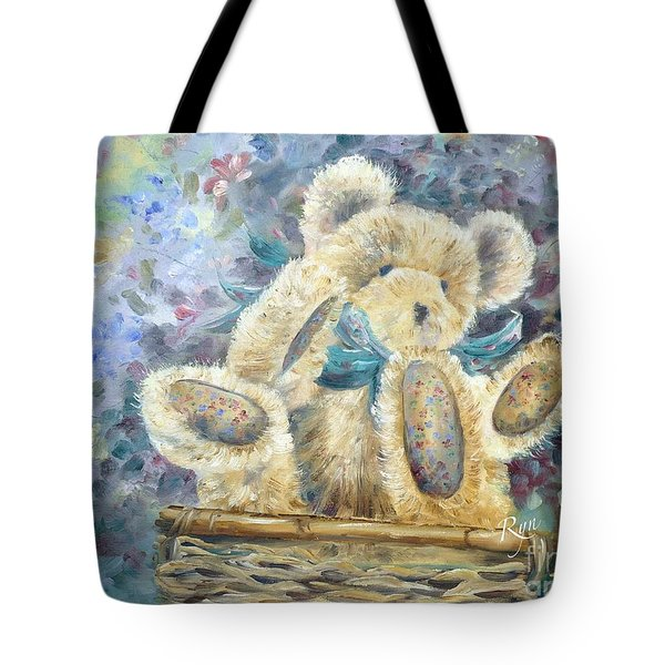 Teddy Bear In Basket Tote Bag