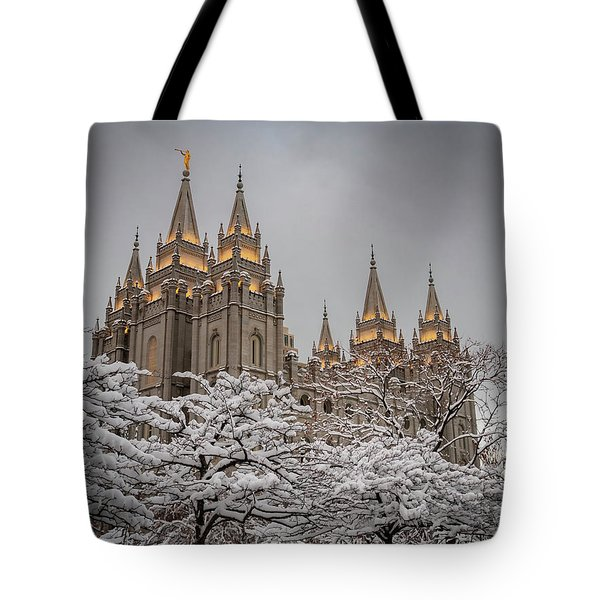 Temple In The Snow Tote Bag