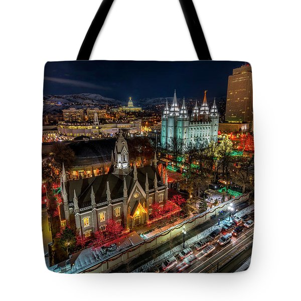 Temple Square Lights Tote Bag