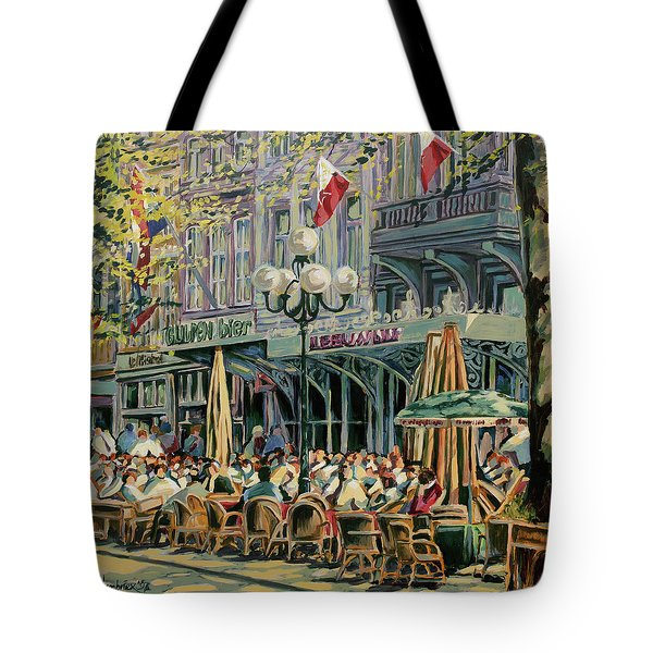 Terrace At The Vrijthof In Maastricht Tote Bag