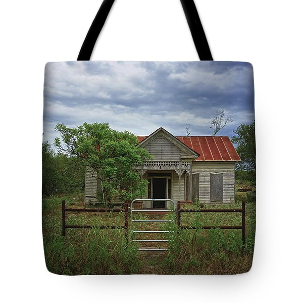 Texas Farmhouse In Storm Clouds Tote Bag