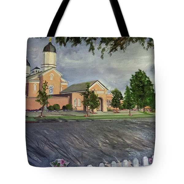 Thank Thee For The Church And The Temple  Vernal Utah Temple Tote Bag