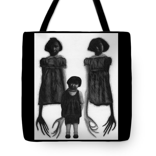 Tote Bag featuring the drawing The Abberant Sisters - Artwork by Ryan Nieves