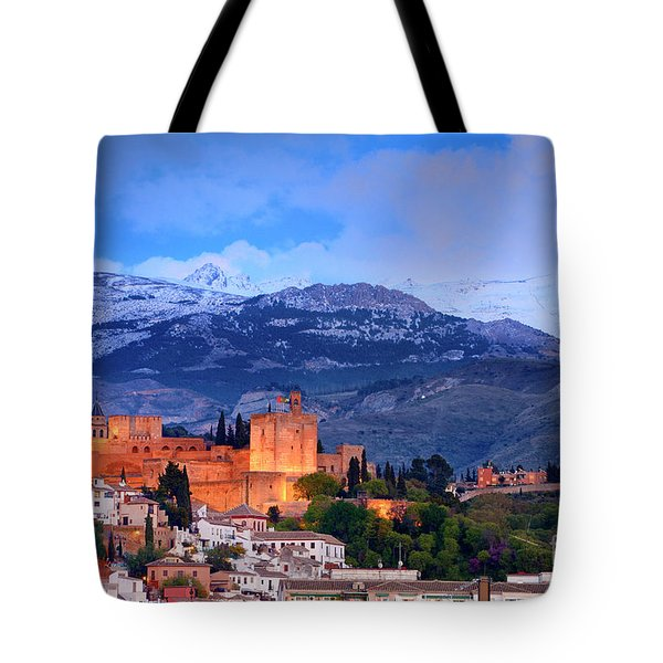 The Alhambra, Albaicin, At Blue Hour Tote Bag