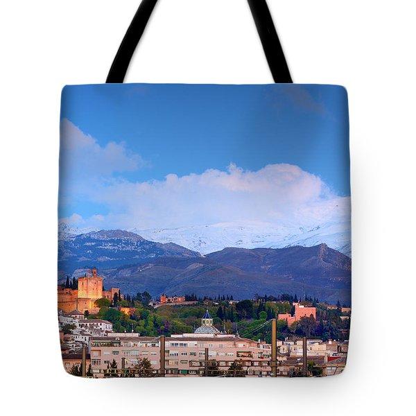 The Alhambra, Albaicin, Granada And Sierra Nevada At Blue Hour Tote Bag