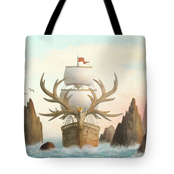 The Antlered Ship Tote Bag