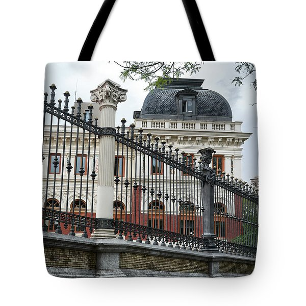 The Back Of The Ministry Of Agriculture Building In Madrid Tote Bag