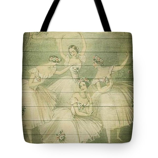 The Ballet Dancers Shabby Chic Vintage Style Portrait Tote Bag