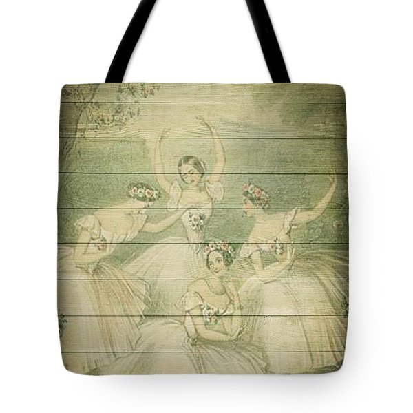 The Ballet Dancers Shabby Chic Vintage Style Portrait Tote Bag