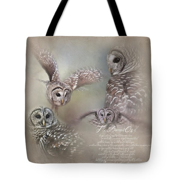 Tote Bag featuring the photograph The Beautiful Barred Owl by Jai Johnson