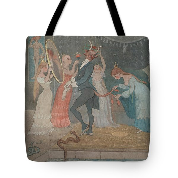 Tote Bag featuring the drawing The Bridegroom Dressed by Ivar Arosenius